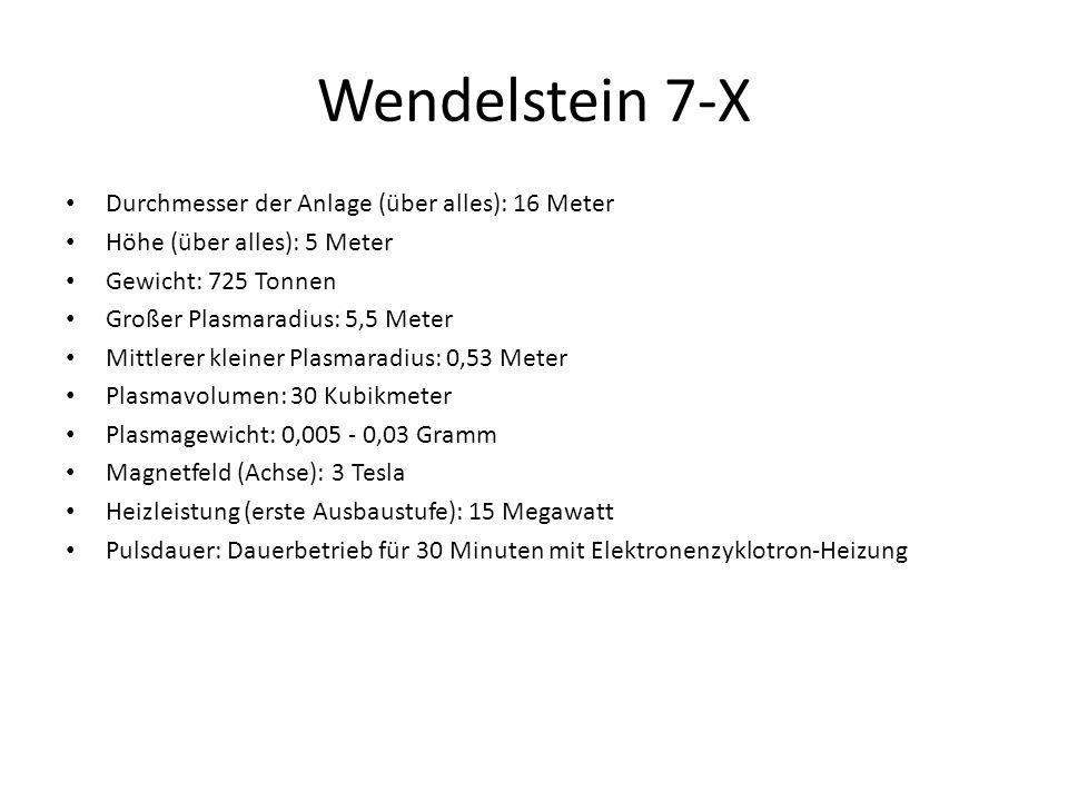 Wendelstein 7-X Durchmesser der Anlage (über alles): 16 Meter Höhe (über alles): 5 Meter Gewicht: 725 Tonnen Großer Plasmaradius: 5,5 Meter Mittlerer