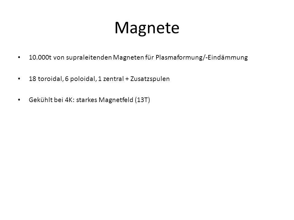 10.000t von supraleitenden Magneten für Plasmaformung/-Eindämmung 18 toroidal, 6 poloidal, 1 zentral + Zusatzspulen Gekühlt bei 4K: starkes Magnetfeld