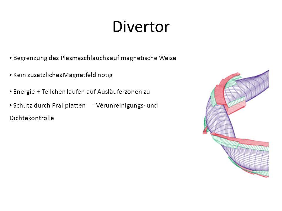 Divertor Begrenzung des Plasmaschlauchs auf magnetische Weise Kein zusätzliches Magnetfeld nötig Energie + Teilchen laufen auf Ausläuferzonen zu Schut