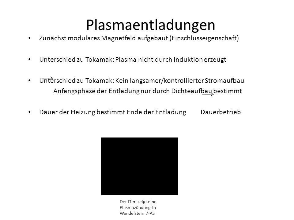 Plasmaentladungen Zunächst modulares Magnetfeld aufgebaut (Einschlusseigenschaft) Unterschied zu Tokamak: Plasma nicht durch Induktion erzeugt Untersc