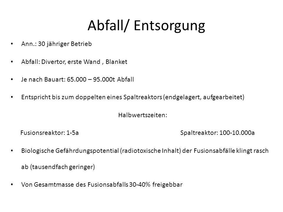 Abfall/ Entsorgung Ann.: 30 jähriger Betrieb Abfall: Divertor, erste Wand, Blanket Je nach Bauart: 65.000 – 95.000t Abfall Entspricht bis zum doppelte