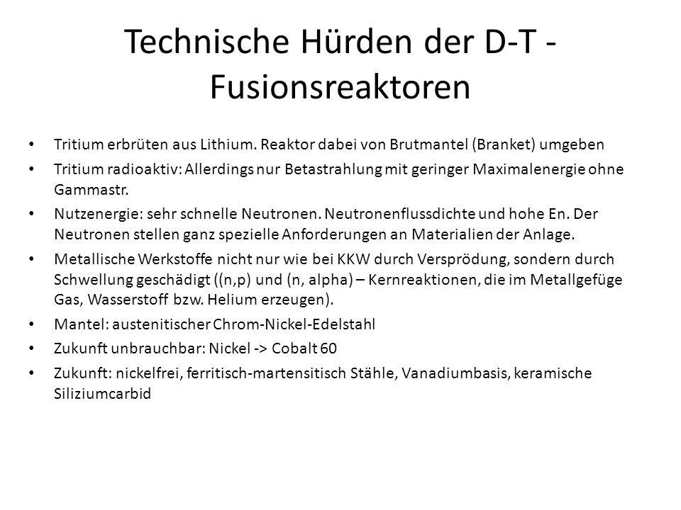 Technische Hürden der D-T - Fusionsreaktoren Tritium erbrüten aus Lithium. Reaktor dabei von Brutmantel (Branket) umgeben Tritium radioaktiv: Allerdin