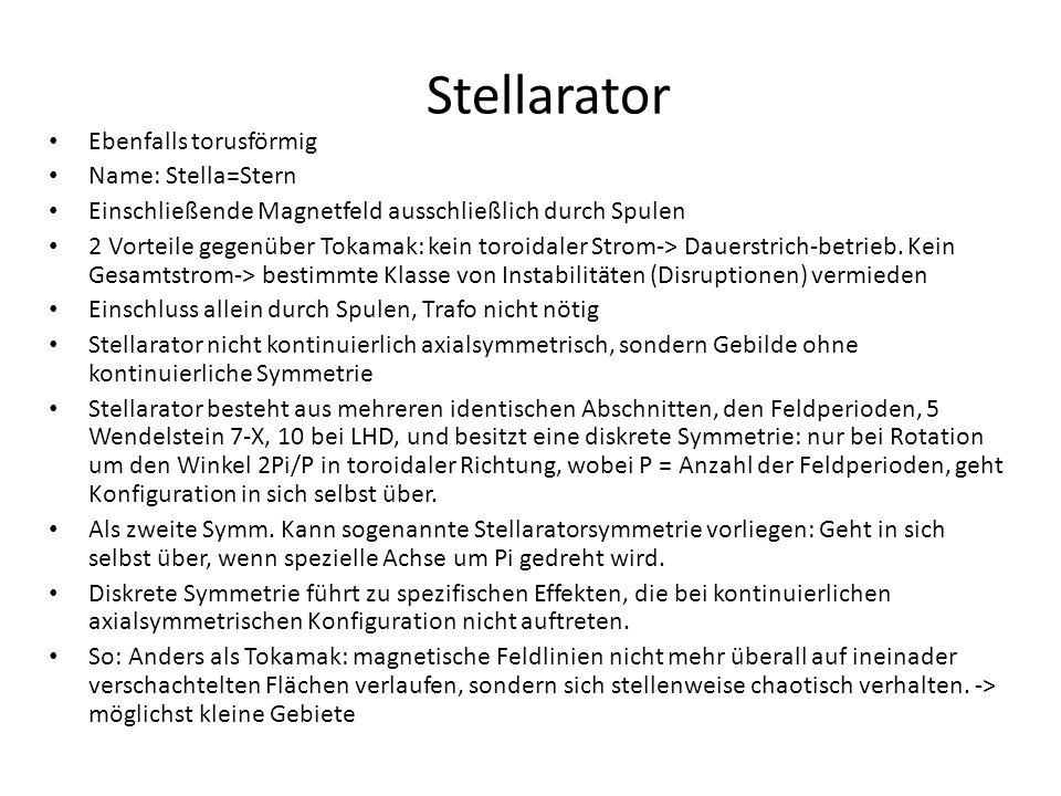 Stellarator Ebenfalls torusförmig Name: Stella=Stern Einschließende Magnetfeld ausschließlich durch Spulen 2 Vorteile gegenüber Tokamak: kein toroidal