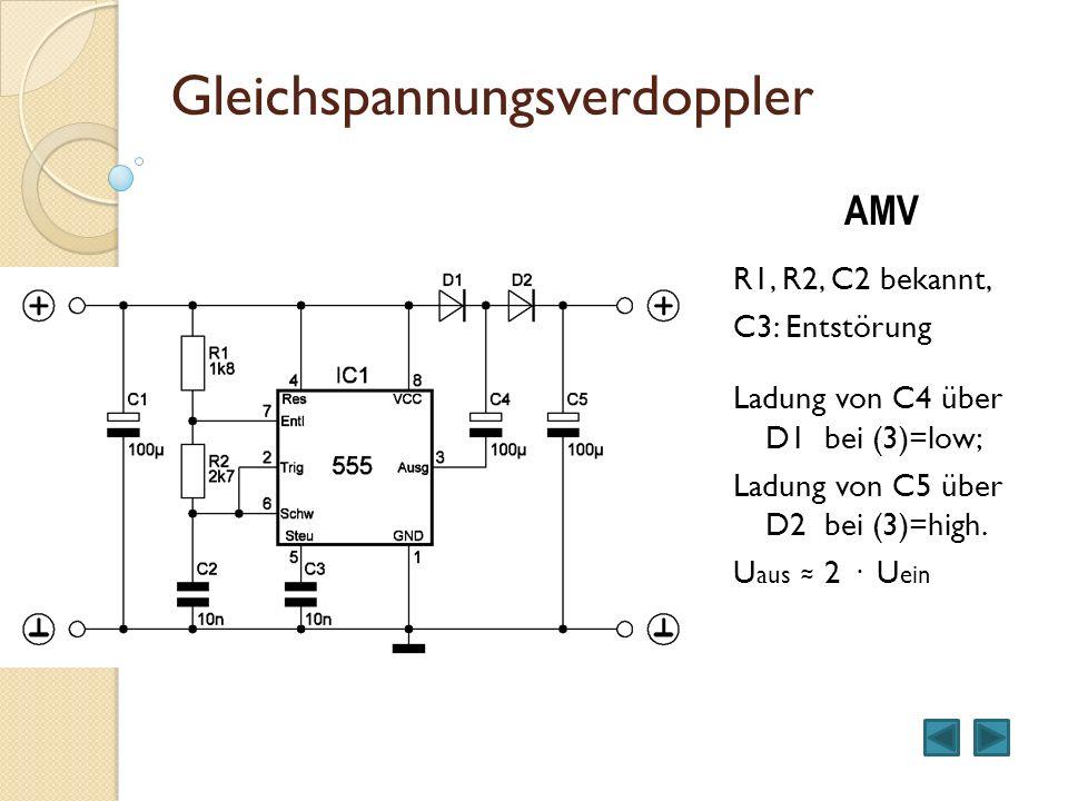 Step – Up – Wandler Symmetrisches Rechteck mit AMV L1 speichert die Energie.