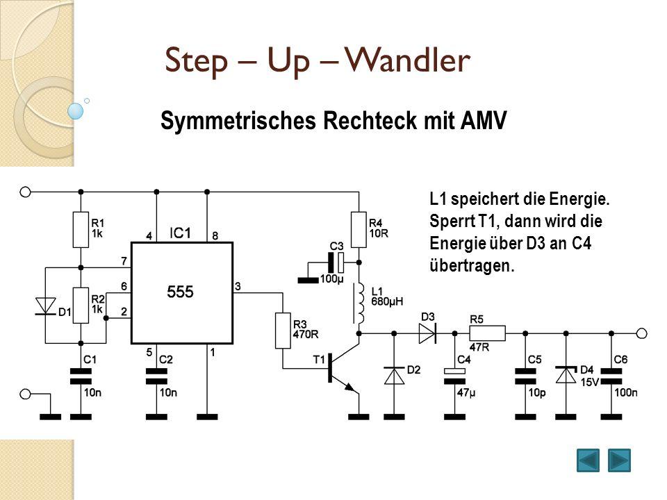 Step – Up – Wandler Symmetrisches Rechteck mit AMV L1 speichert die Energie. Sperrt T1, dann wird die Energie über D3 an C4 übertragen.