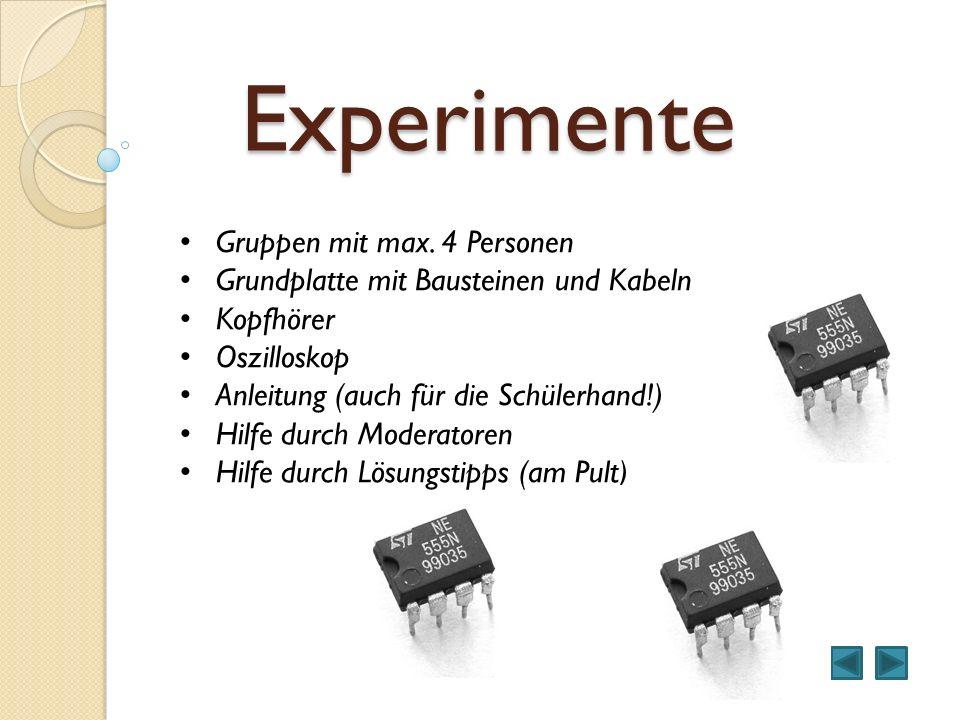 Experimente Gruppen mit max. 4 Personen Grundplatte mit Bausteinen und Kabeln Kopfhörer Oszilloskop Anleitung (auch für die Schülerhand!) Hilfe durch