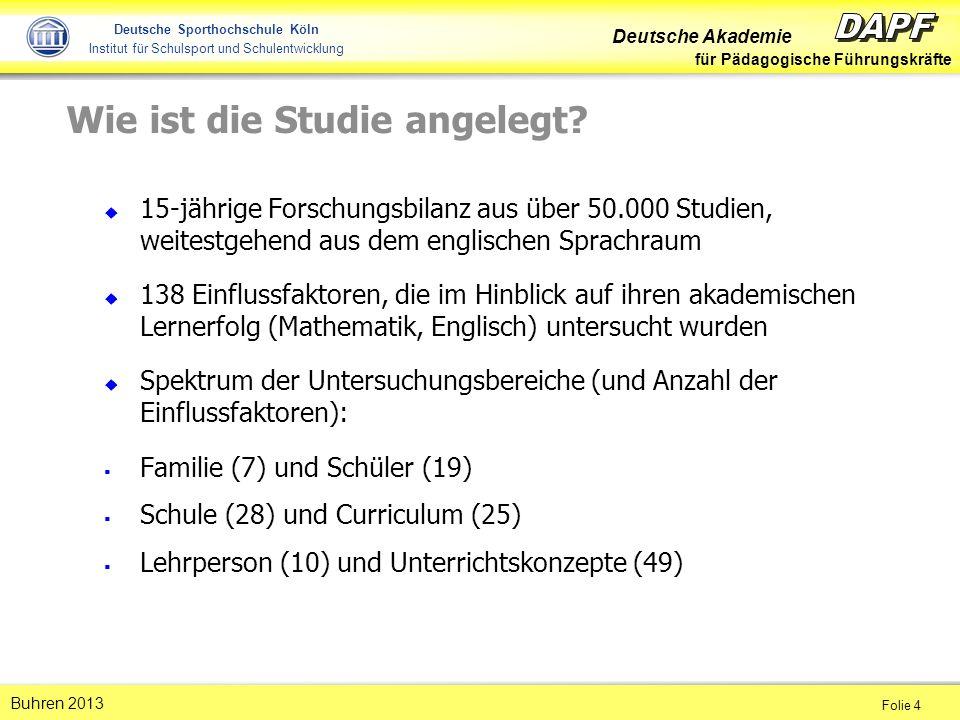 Deutsche Akademie für Pädagogische Führungskräfte Folie 4 Buhren 2013 Deutsche Sporthochschule Köln Institut für Schulsport und Schulentwicklung Wie ist die Studie angelegt.