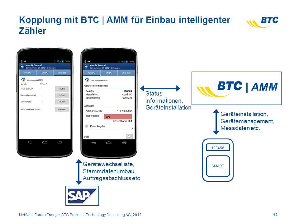 Kopplung mit BTC | AMM für Einbau intelligenter Zähler 12NetWork Forum Energie, BTC Business Technology Consulting AG, 2013 | AMM 123456 SMART Gerätei