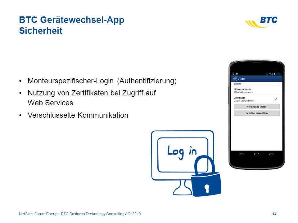 BTC Gerätewechsel-App Sicherheit Monteurspezifischer-Login (Authentifizierung) Nutzung von Zertifikaten bei Zugriff auf Web Services Verschlüsselte Ko