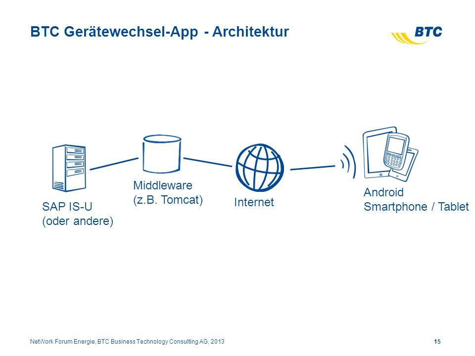 BTC Gerätewechsel-App - Architektur 15NetWork Forum Energie, BTC Business Technology Consulting AG, 2013 SAP IS-U (oder andere) Middleware (z.B. Tomca