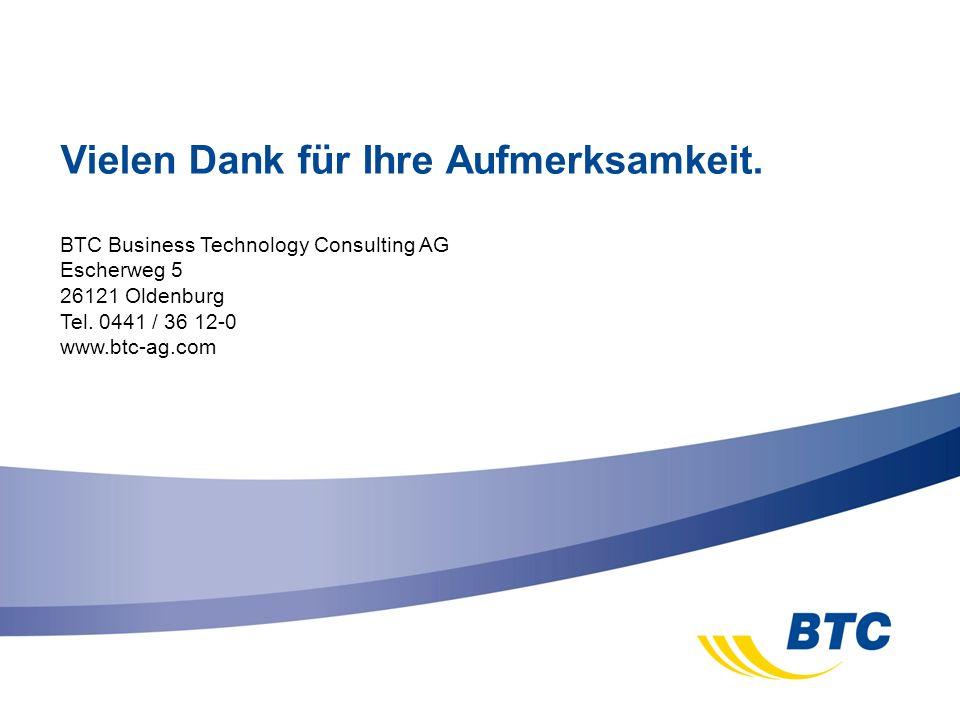 BTC Business Technology Consulting AG Escherweg 5 26121 Oldenburg Tel. 0441 / 36 12-0 www.btc-ag.com Vielen Dank für Ihre Aufmerksamkeit.