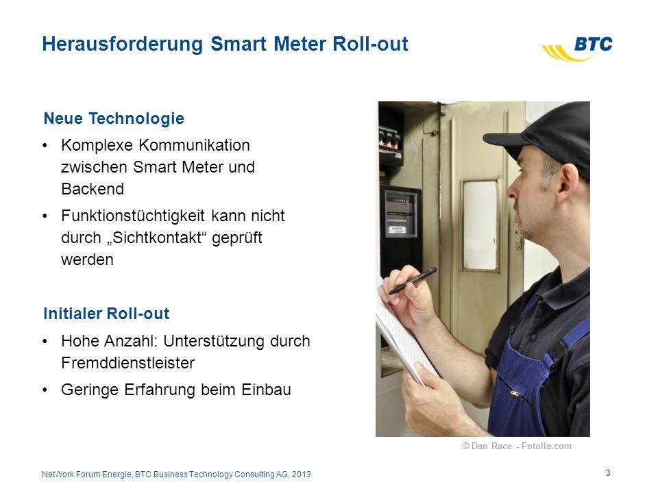 Herausforderung Smart Meter Roll-out Neue Technologie Komplexe Kommunikation zwischen Smart Meter und Backend Funktionstüchtigkeit kann nicht durch Si
