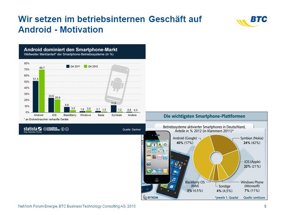 Wir setzen im betriebsinternen Geschäft auf Android - Motivation 5NetWork Forum Energie, BTC Business Technology Consulting AG, 2013