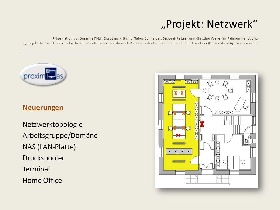 Projekt: Netzwerk Präsentation von Susanne Földi, Dorothea Krähling, Tabea Schneider, Deborah te Laak und Christine Weller im Rahmen der Übung Projekt