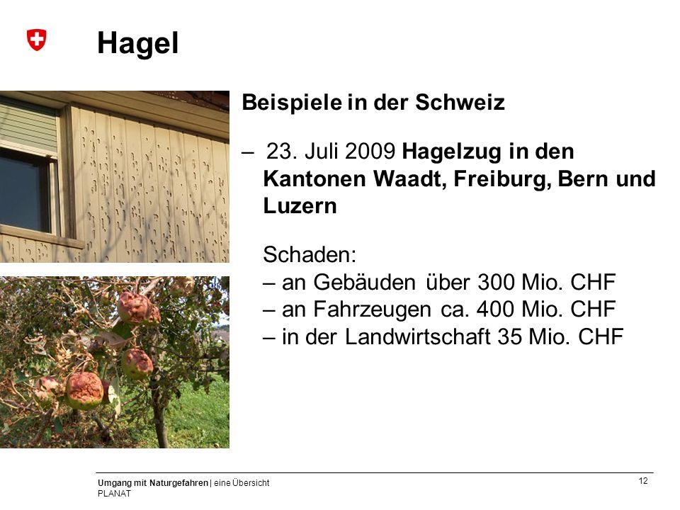 12 Umgang mit Naturgefahren | eine Übersicht PLANAT Beispiele in der Schweiz – 23. Juli 2009 Hagelzug in den Kantonen Waadt, Freiburg, Bern und Luzern