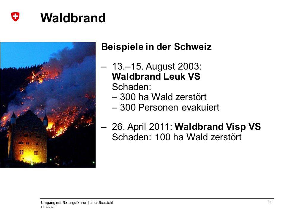 14 Umgang mit Naturgefahren | eine Übersicht PLANAT Beispiele in der Schweiz –13.–15. August 2003: Waldbrand Leuk VS Schaden: – 300 ha Wald zerstört –