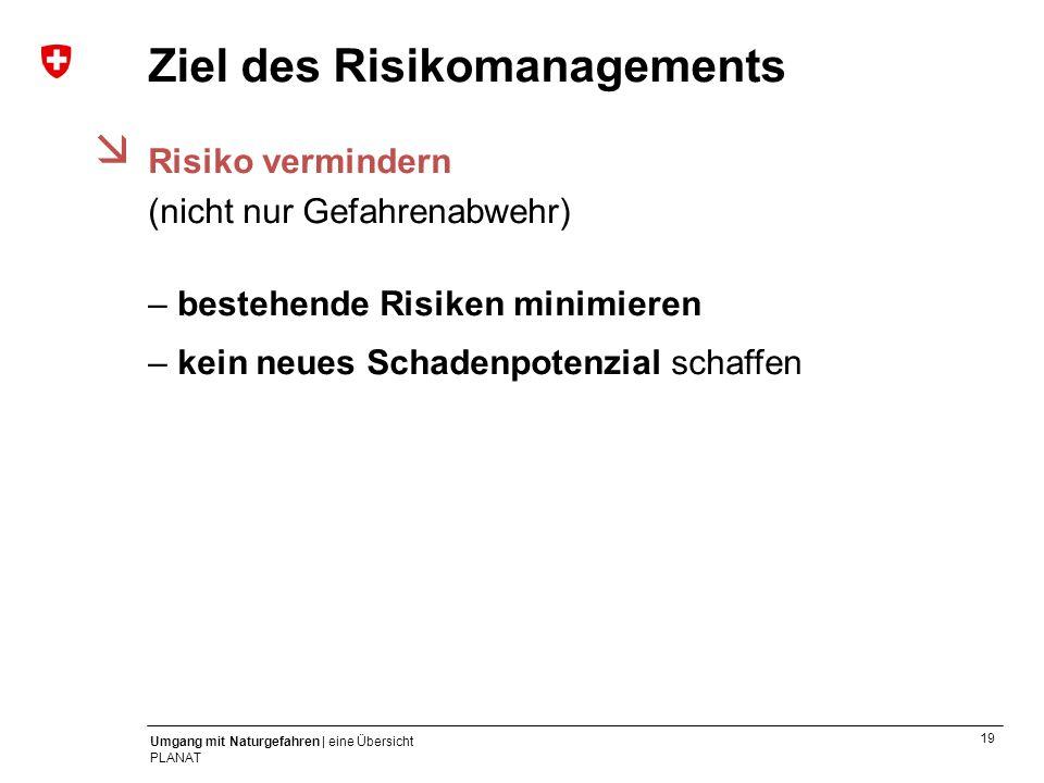 19 Umgang mit Naturgefahren | eine Übersicht PLANAT Ziel des Risikomanagements Risiko vermindern (nicht nur Gefahrenabwehr) – bestehende Risiken minim