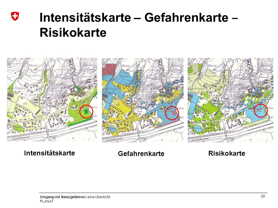 28 Umgang mit Naturgefahren | eine Übersicht PLANAT Intensitätskarte – Gefahrenkarte Risikokarte Gefahrenkarte RisikokarteIntensitätskarte