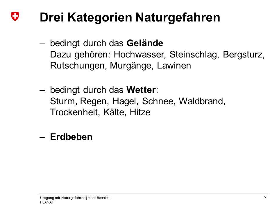 6 Umgang mit Naturgefahren | eine Übersicht PLANAT Hochwasser Beispiele in der Schweiz –4.–22.