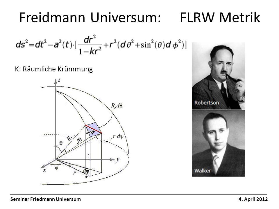 Freidmann Universum: FLRW Metrik Seminar Friedmann Universum 4. April 2012 K: Räumliche Krümmung
