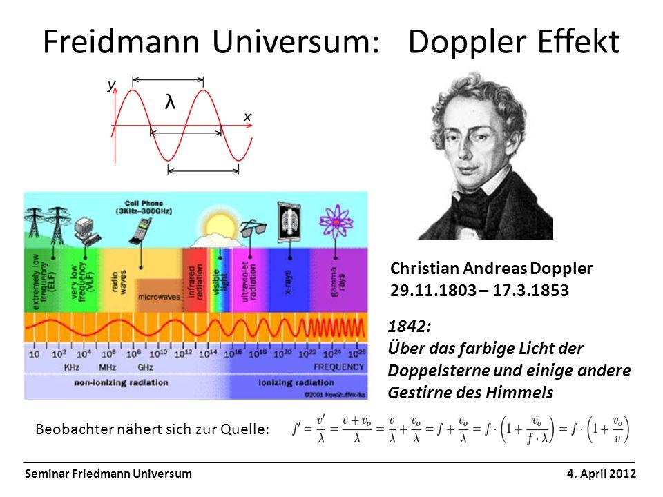 Freidmann Universum: Hubble Gesetz Seminar Friedmann Universum 4.