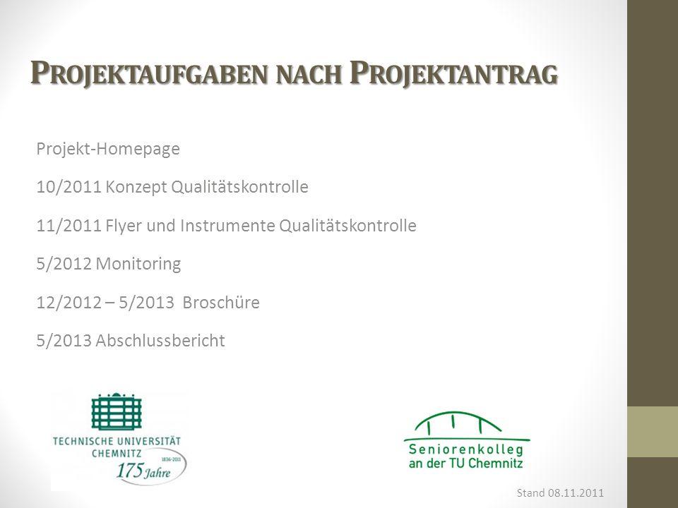 P ROJEKTAUFGABEN NACH P ROJEKTANTRAG Projekt-Homepage 10/2011 Konzept Qualitätskontrolle 11/2011 Flyer und Instrumente Qualitätskontrolle 5/2012 Monit