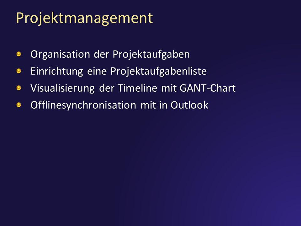 Projektmanagement Organisation der Projektaufgaben Einrichtung eine Projektaufgabenliste Visualisierung der Timeline mit GANT-Chart Offlinesynchronisa