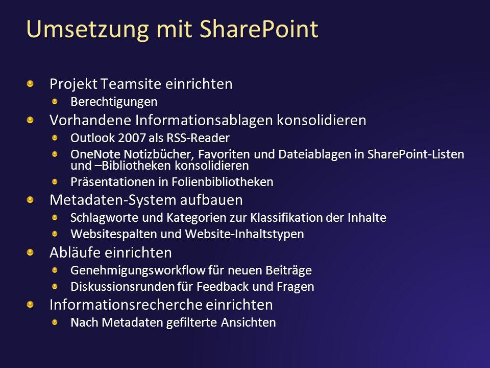 Umsetzung mit SharePoint Projekt Teamsite einrichten Berechtigungen Vorhandene Informationsablagen konsolidieren Outlook 2007 als RSS-Reader OneNote N