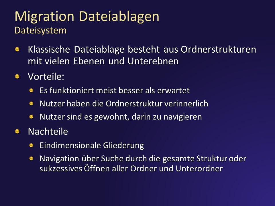 Migration Dateiablagen Dateisystem Klassische Dateiablage besteht aus Ordnerstrukturen mit vielen Ebenen und Unterebnen Vorteile: Es funktioniert meis