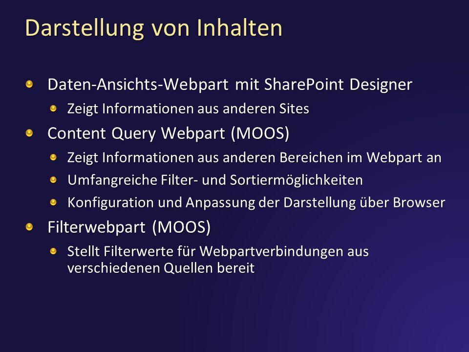 Darstellung von Inhalten Daten-Ansichts-Webpart mit SharePoint Designer Zeigt Informationen aus anderen Sites Content Query Webpart (MOOS) Zeigt Infor