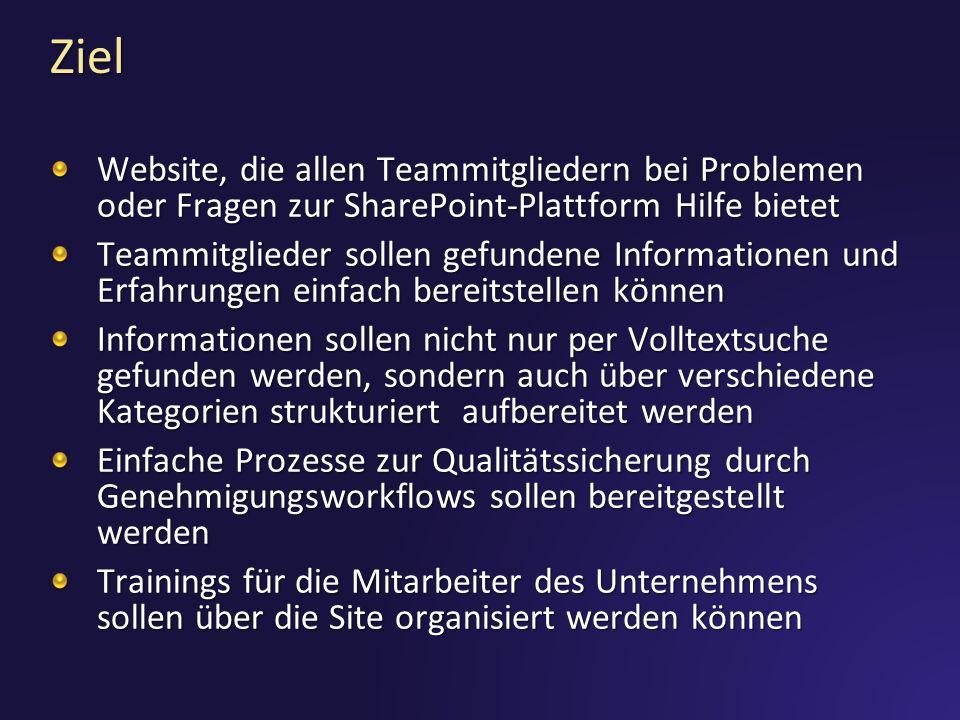 Ziel Website, die allen Teammitgliedern bei Problemen oder Fragen zur SharePoint-Plattform Hilfe bietet Teammitglieder sollen gefundene Informationen