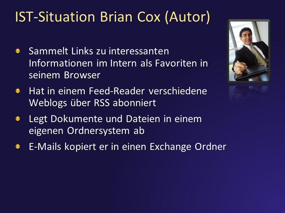 IST-Situation Claus Hansen (User) Sucht über Google oder Live Search Nutzt die Live Search Community Suche Sammelt Links zu interessanten Informationen im Internet als Favoriten in seinem Browser Gut für spezielle Themen, schlecht für Zusammenhänge Wünscht sich strukturierte, zielgerichtete und qualifizierte Zusammenstellung Würde eigene Informationen gerne mit anderen teilen, aber keine Plattform
