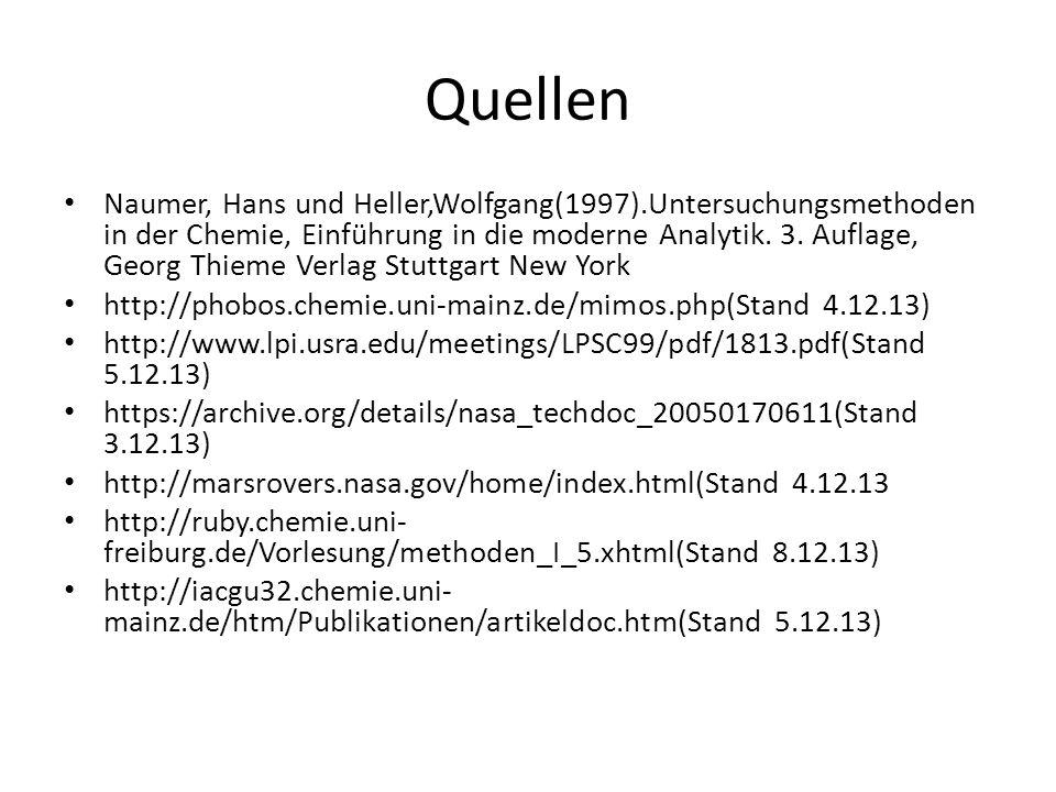 Quellen Naumer, Hans und Heller,Wolfgang(1997).Untersuchungsmethoden in der Chemie, Einführung in die moderne Analytik. 3. Auflage, Georg Thieme Verla