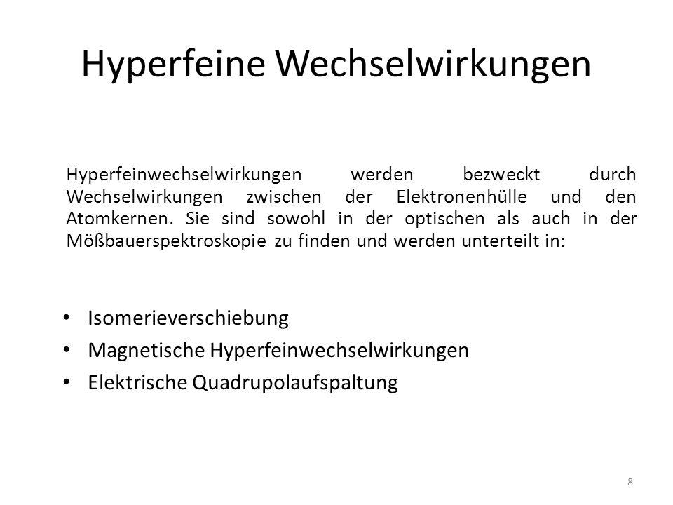 Isomerieverschiebung Elektrostatische Wechselwirkungen zwischen Kernladung und Ladung der Elektronen Bindungs- und Gesamtenergie hängen von der Größe des Kerns und dem Zustand ab Energie ist proportional zum mittleren Quadrates des Kernradius und der Elektronendichte am Ort des Kerns 9 http://www.uni- muenster.de/imperia/md/content/physikali sche_chemie/app_moess.pdf (9.12.13)
