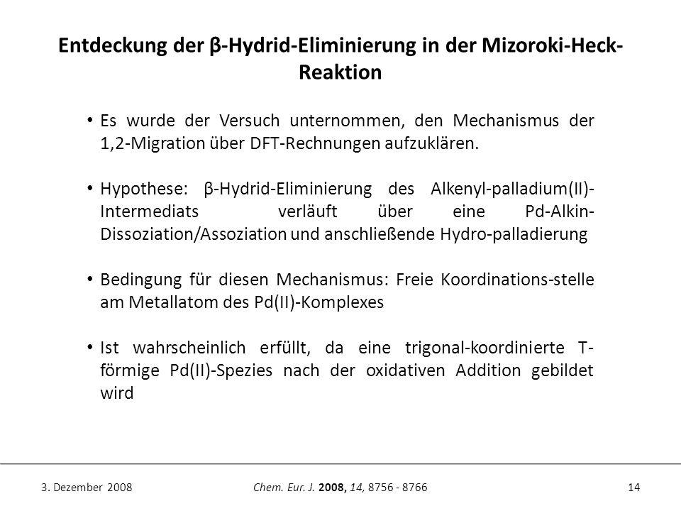 14Chem. Eur. J. 2008, 14, 8756 - 87663. Dezember 2008 Entdeckung der β-Hydrid-Eliminierung in der Mizoroki-Heck- Reaktion Es wurde der Versuch unterno