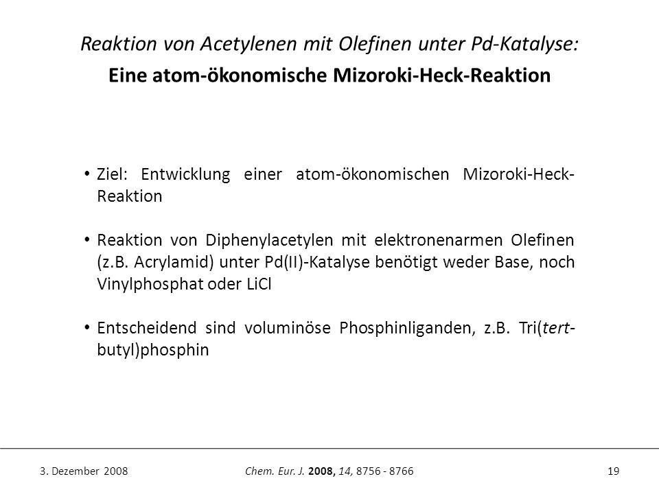 19Chem. Eur. J. 2008, 14, 8756 - 87663. Dezember 2008 Reaktion von Acetylenen mit Olefinen unter Pd-Katalyse: Eine atom-ökonomische Mizoroki-Heck-Reak