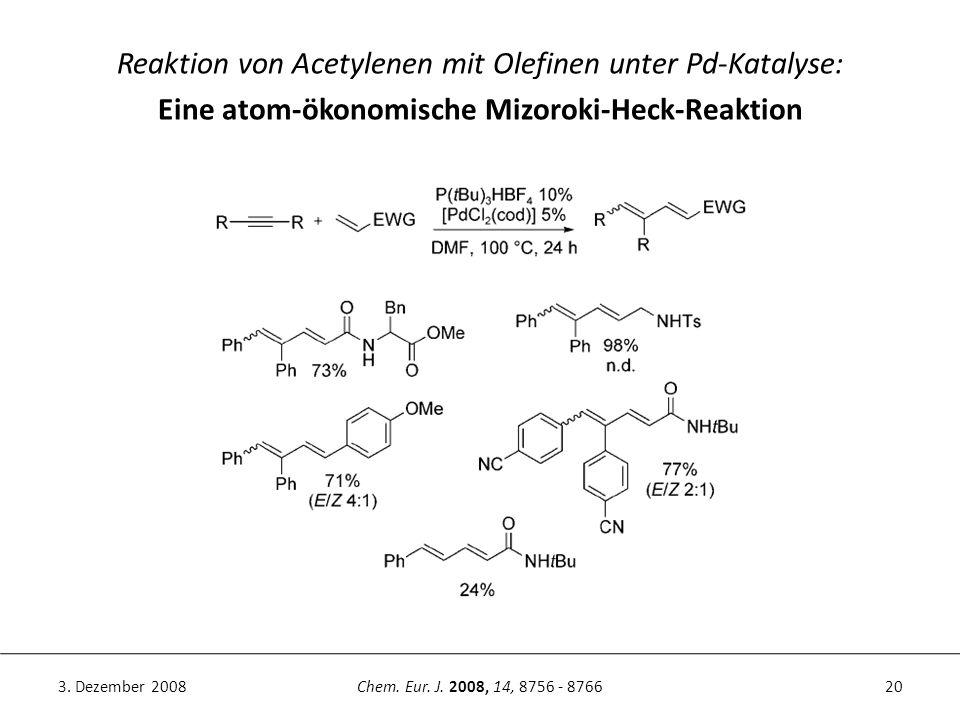 20Chem. Eur. J. 2008, 14, 8756 - 87663. Dezember 2008 Reaktion von Acetylenen mit Olefinen unter Pd-Katalyse: Eine atom-ökonomische Mizoroki-Heck-Reak