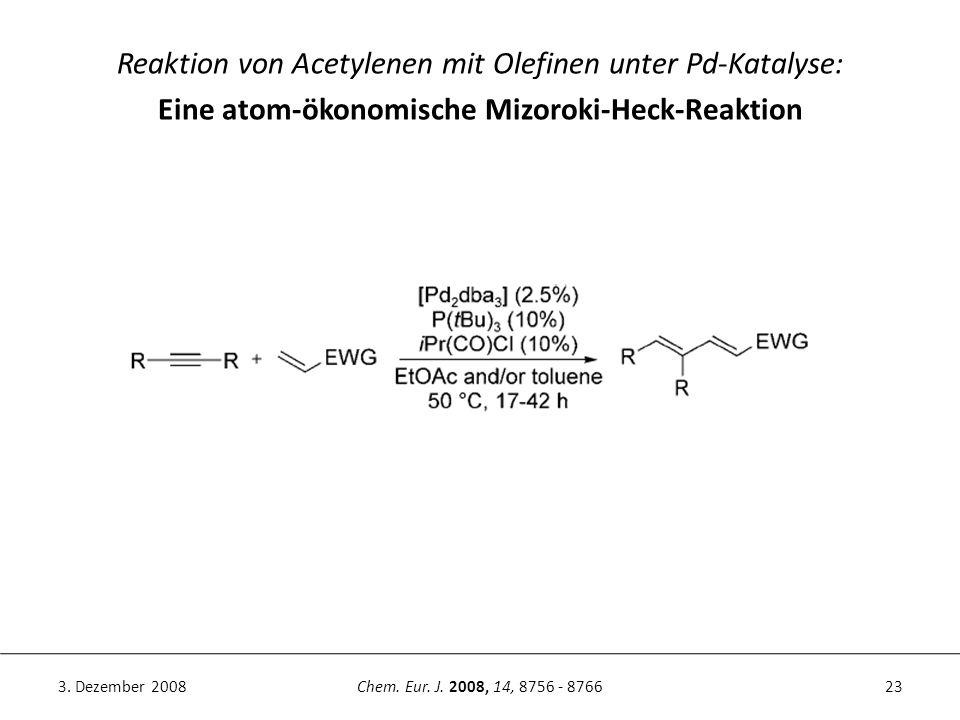 23Chem. Eur. J. 2008, 14, 8756 - 87663. Dezember 2008 Reaktion von Acetylenen mit Olefinen unter Pd-Katalyse: Eine atom-ökonomische Mizoroki-Heck-Reak