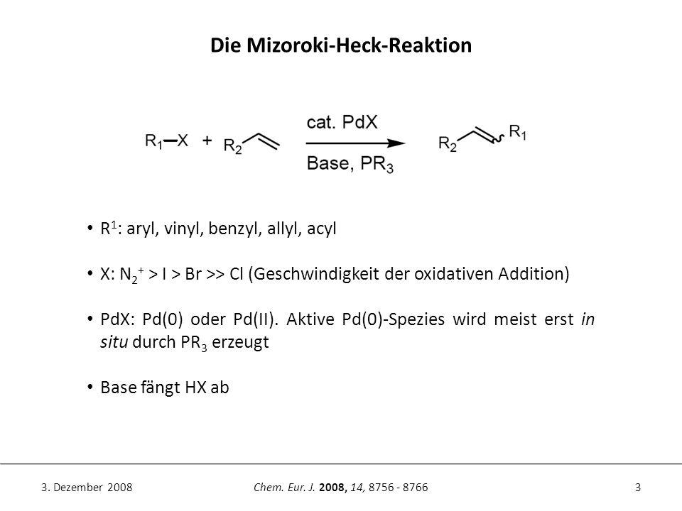 3Chem. Eur. J. 2008, 14, 8756 - 87663. Dezember 2008 Die Mizoroki-Heck-Reaktion R 1 : aryl, vinyl, benzyl, allyl, acyl X: N 2 + > I > Br >> Cl (Geschw