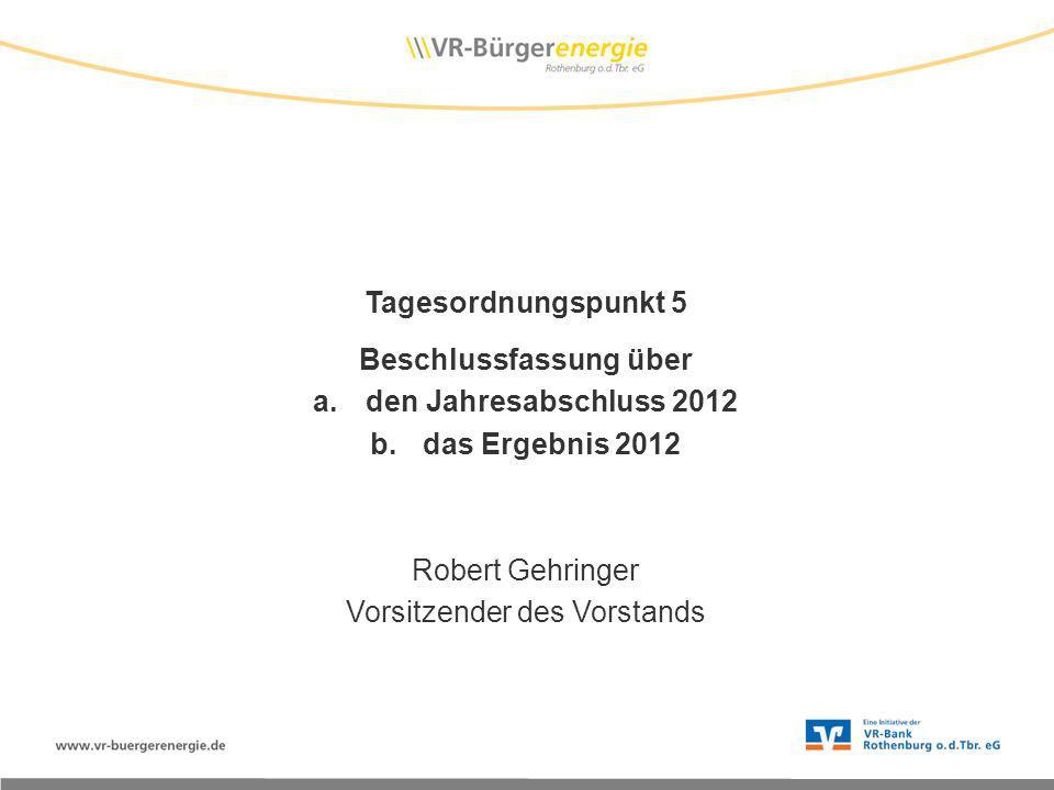 Tagesordnungspunkt 5 Beschlussfassung über a.den Jahresabschluss 2012 b.das Ergebnis 2012 Robert Gehringer Vorsitzender des Vorstands