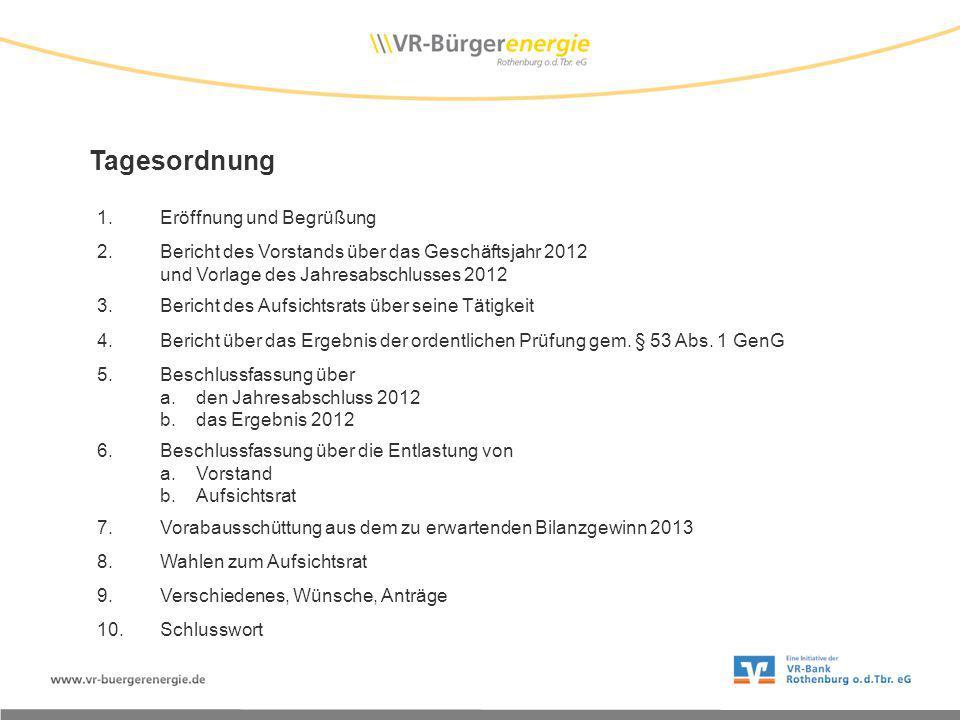 Tagesordnung 1.Eröffnung und Begrüßung 2.Bericht des Vorstands über das Geschäftsjahr 2012 und Vorlage des Jahresabschlusses 2012 3.Bericht des Aufsichtsrats über seine Tätigkeit 4.Bericht über das Ergebnis der ordentlichen Prüfung gem.