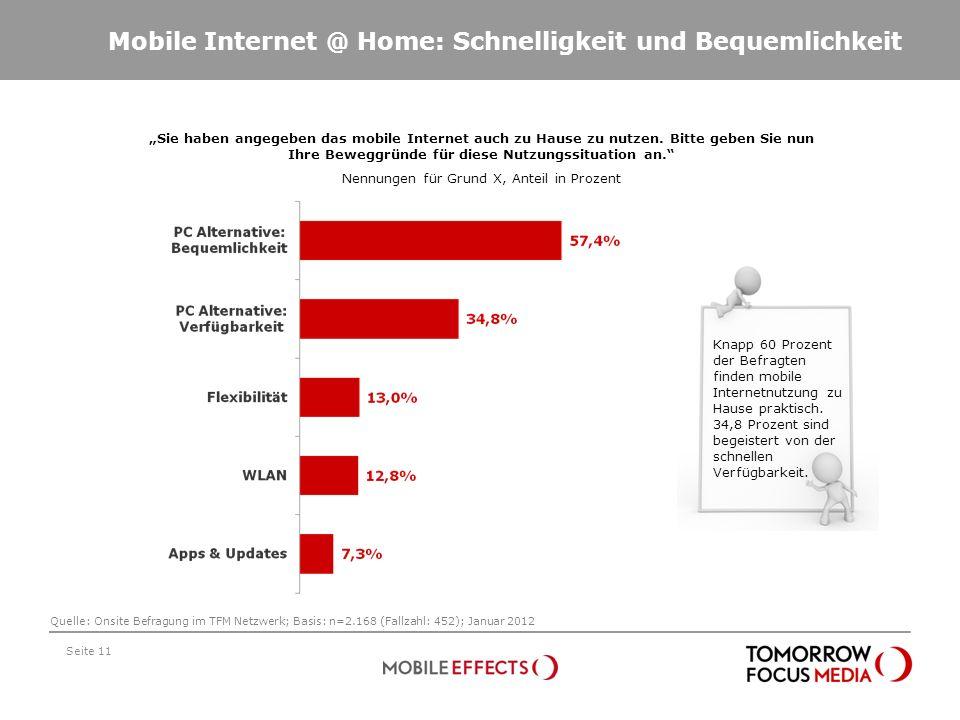 Mobile Internet @ Home: Schnelligkeit und Bequemlichkeit Sie haben angegeben das mobile Internet auch zu Hause zu nutzen. Bitte geben Sie nun Ihre Bew
