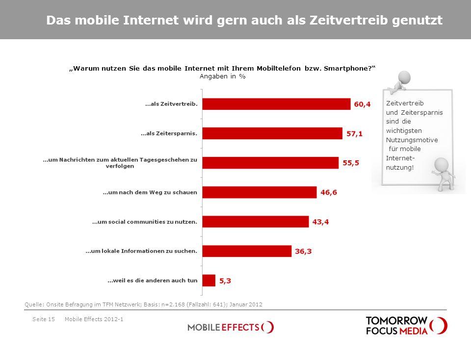 Das mobile Internet wird gern auch als Zeitvertreib genutzt Seite 15 Warum nutzen Sie das mobile Internet mit Ihrem Mobiltelefon bzw. Smartphone? Anga