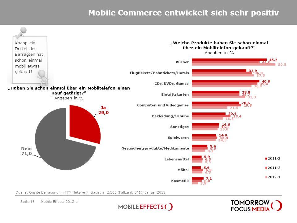 Seite 16 Haben Sie schon einmal über ein Mobiltelefon einen Kauf getätigt? Angaben in % Welche Produkte haben Sie schon einmal über ein Mobiltelefon g