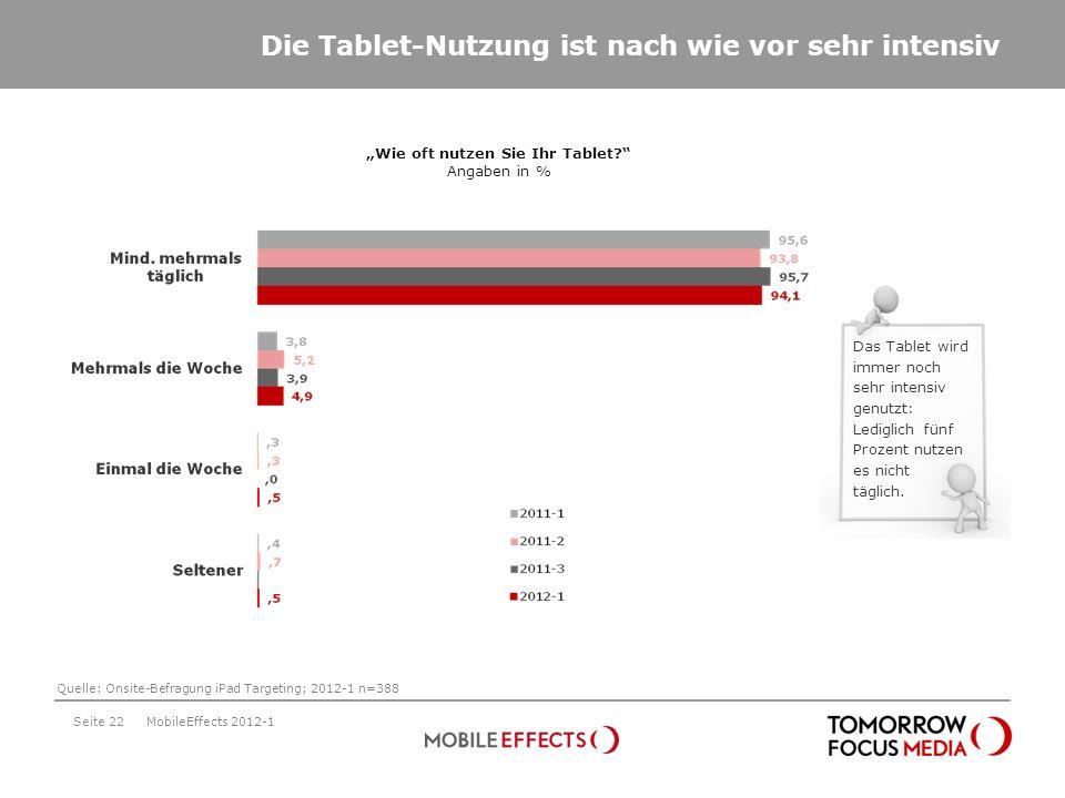 Seite 22 Die Tablet-Nutzung ist nach wie vor sehr intensiv Wie oft nutzen Sie Ihr Tablet? Angaben in % MobileEffects 2012-1 Das Tablet wird immer noch