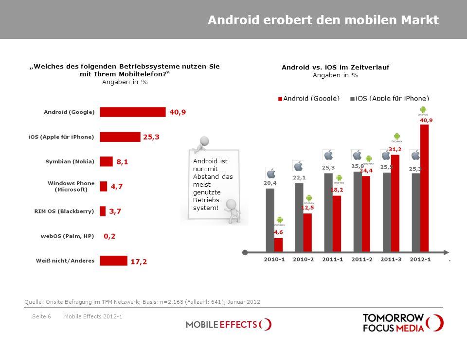 Seite 6 Welches des folgenden Betriebssysteme nutzen Sie mit Ihrem Mobiltelefon? Angaben in % Android erobert den mobilen Markt Mobile Effects 2012-1