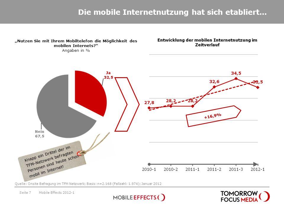 Die mobile Internetnutzung hat sich etabliert… Seite 7 Nutzen Sie mit Ihrem Mobiltelefon die Möglichkeit des mobilen Internets? Angaben in % +16,9% Mo