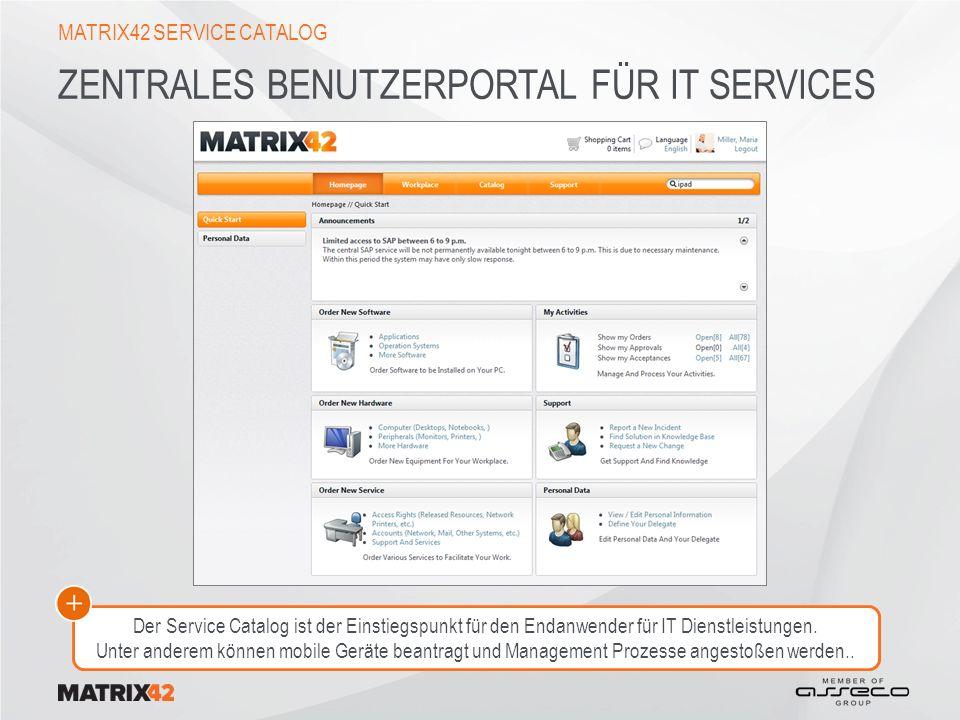 ZENTRALES BENUTZERPORTAL FÜR IT SERVICES MATRIX42 SERVICE CATALOG Der Service Catalog ist der Einstiegspunkt für den Endanwender für IT Dienstleistungen.