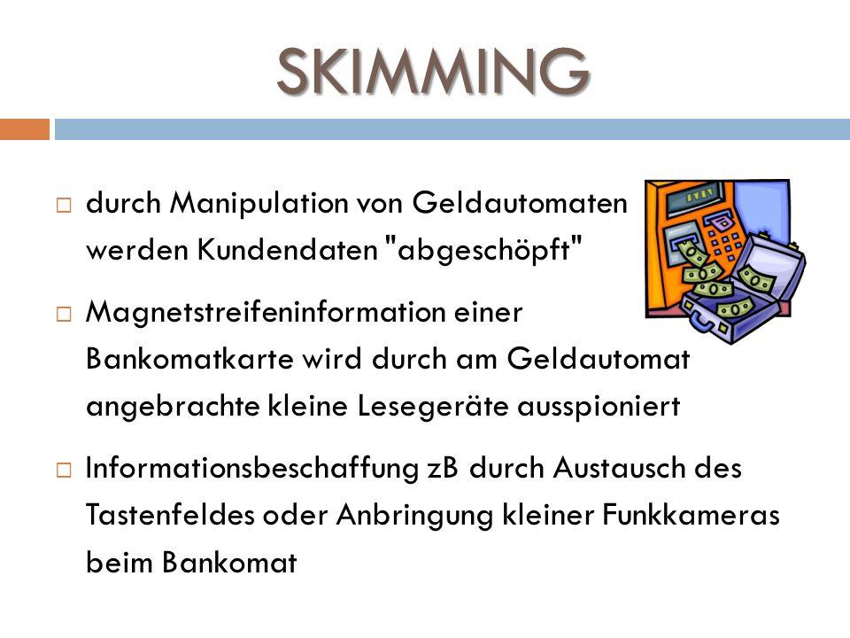 SKIMMING durch Manipulation von Geldautomaten werden Kundendaten