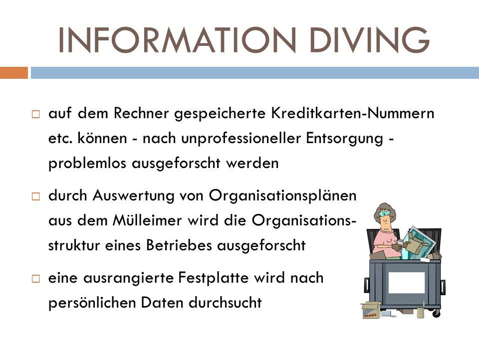 INFORMATION DIVING auf dem Rechner gespeicherte Kreditkarten-Nummern etc. können - nach unprofessioneller Entsorgung - problemlos ausgeforscht werden